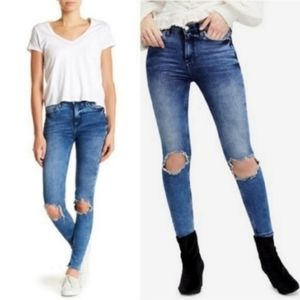 Free People Busted Knee High Rise Jeans Turquoise